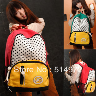 Best Selling!!2013 new promotion women canvas backpack dot print ladies travel bag female casual bag Free Shipping