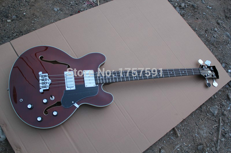 Top Quality Chinese Factory G Lp custom shop ES 335 ES335 Wine Red bass Guitar with F hole(China (Mainland))