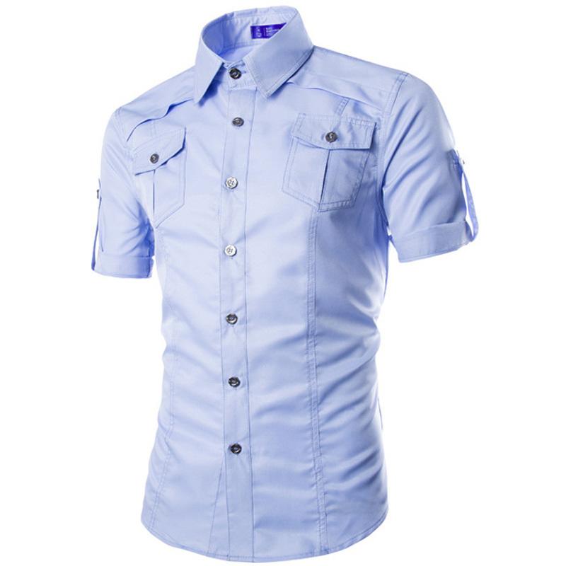 Brand design men shirt 2015 summer fashion mens slim fit for Fitted short sleeve dress shirts