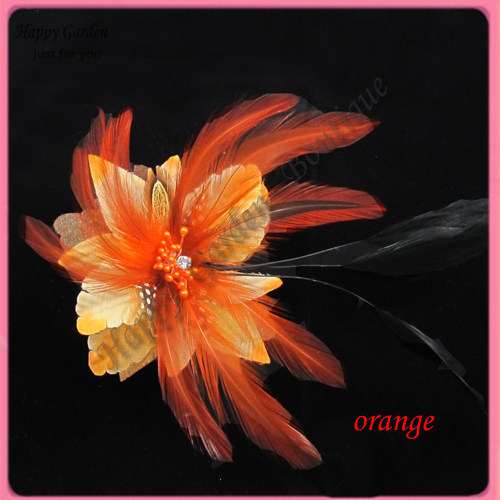 Free shipping!12pcs/lot 4'' feather flowers lapel pin brooch pin hair alligator clip