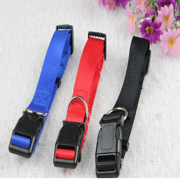 Simple Design Solid Color Nylon Fabric and Plastic Button Small Dog Training Collar Yoikieshire Pet Collars for Teddy Puppy Pet(China (Mainland))