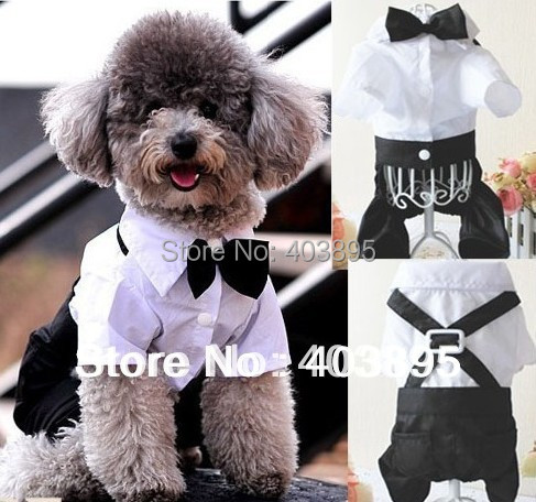 (Free Shipping)Formal Dog Tuxedo Pet Jumpsuit Cute Outfit Bow Tie Suit Wedding Party Apparel,Size(S-XXL)