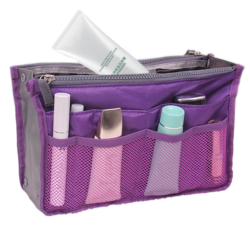 Cosmetic Bag in Bag Double Zipper Portable Multifunctional Travel Pockets Handbag Storage Bag Fadish Travel Organizer