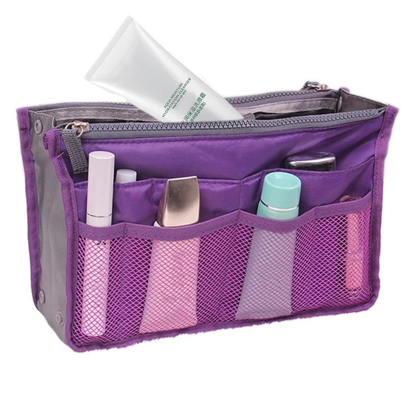 Cosmetic Bag in Bag,Double Zipper Portable Multifunctional Travel Pockets Handbag Storage Bag,Fadish Travel Organizer Makeup Bag(China (Mainland))