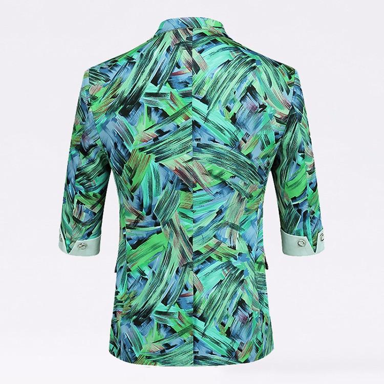 2016 весной новинка мужские цветочные три четверти пиджак Большой размер м-4xl мужчин пиджак тонкой пиджак XK110