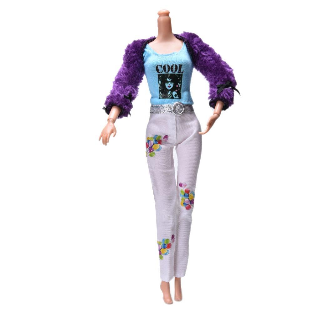 """Fur Coat Suit for Barbie 11"""" Dolls White Pants Fur Purple Coat Fashion Kid Dolls Accessories 3 Pcs/Set New Arrival(China (Mainland))"""