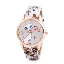 2016 New Style Cute Cartoon Cat Watches Women Fashion Large Numeral Casual Watch Floral Strap Quartz