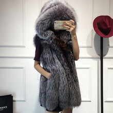 2016 Spring new women hooded fur coat silver fox  imitation fur vest plus size ladies fox fur coat(China (Mainland))