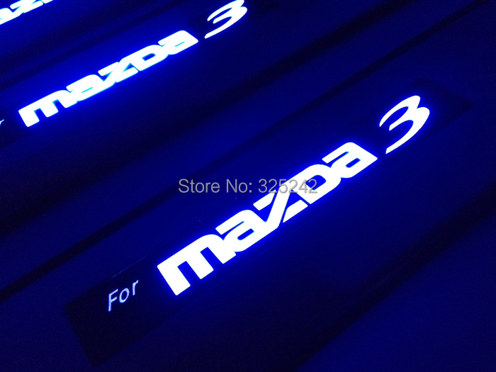 Excellent led stainless steel threshold door sills For Mazda 3 Second generation/2010 Mazda 3 S Grand Touring LED light sticker<br><br>Aliexpress