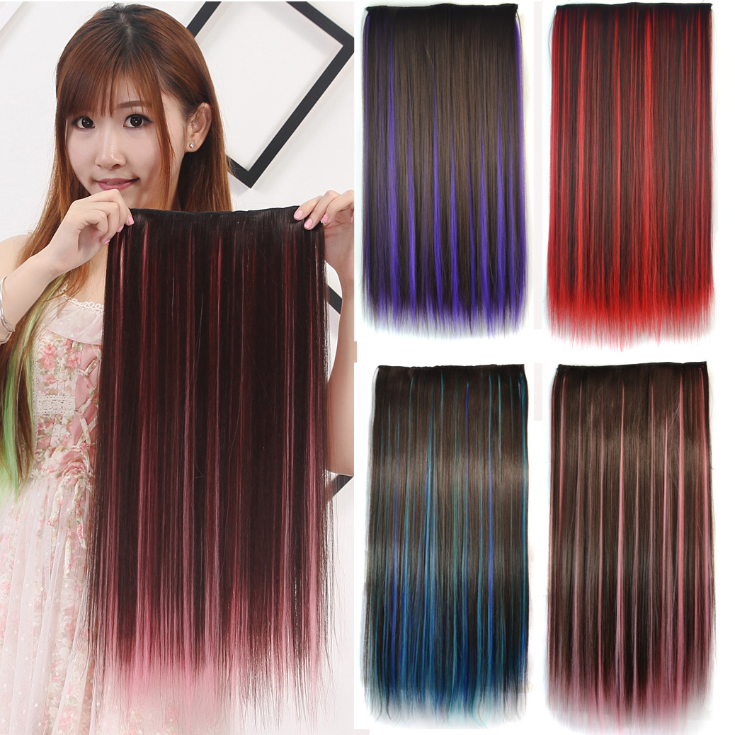 7 Colors One piece Lady extension Hair 5 Clips in hair Colorful dyeing long straight Synthetic extension hair for Black Women(China (Mainland))