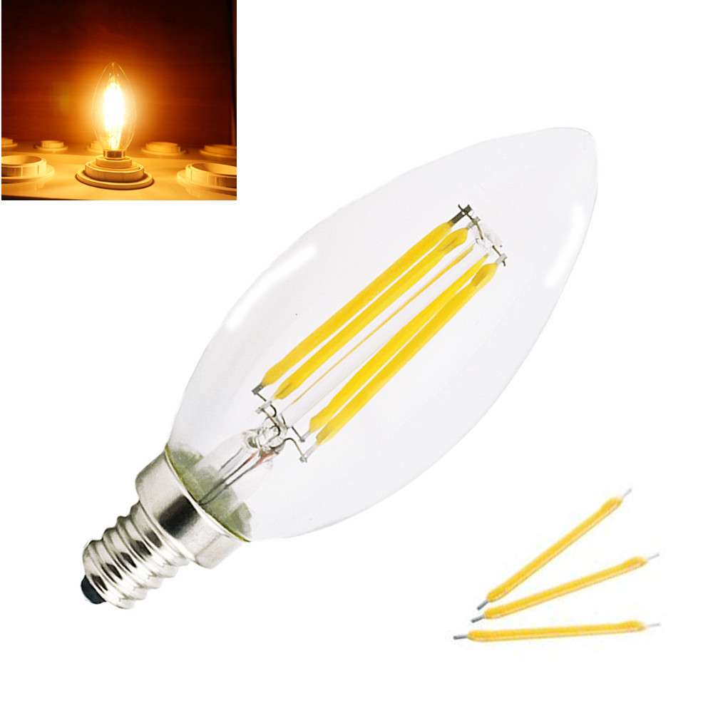 Free Shipping Newest 2W 4W E12 E14 LED Filament Candle Bulb Light 220V 110V Warm/Cold White Indoor LED Candle Light <br><br>Aliexpress