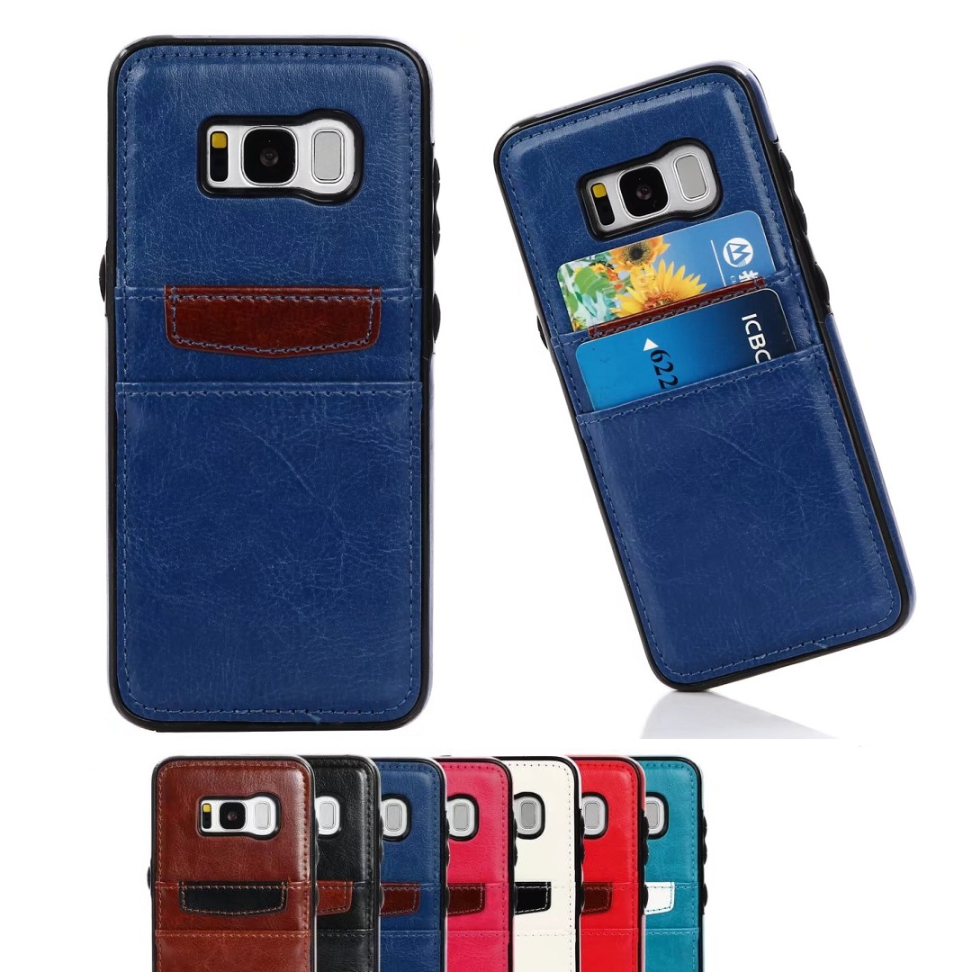 For Samsung Galaxy S5 S6 Edge S7 Edge Case S8 Plus Note 4 5 Leather Cases Back Cover Protector Card Phone Accessories Fashion(China (Mainland))