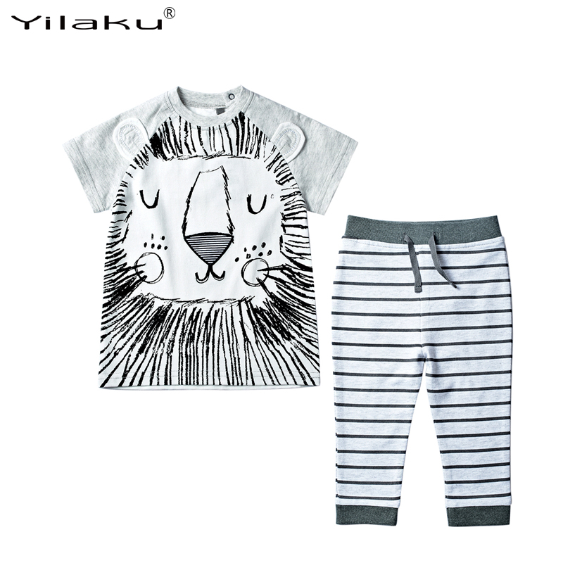 Character Baby Clothes Set 2016 Summer Infant Babies Boys Girls Animal Tops+Striped Pants Newborn Boy Girl Clothes Sets CF423(China (Mainland))