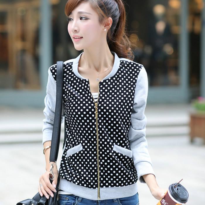 New 2014 Plus Size Korean Polka Dot Leopard Print Jacket Double Pockets Casual Coat Zipper Cardigan Women Clothing XXXXLОдежда и ак�е��уары<br><br><br>Aliexpress