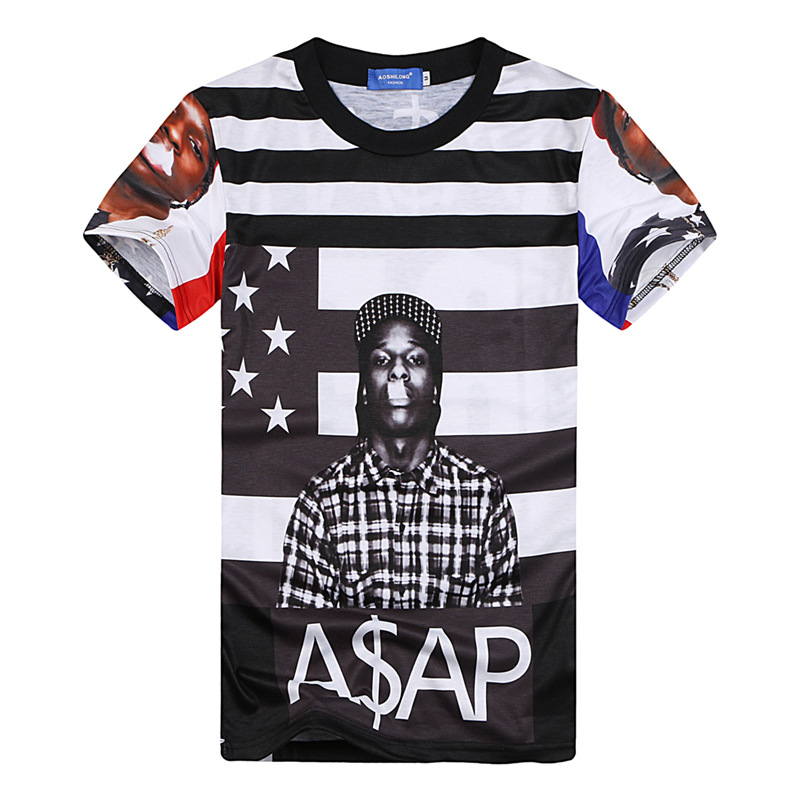 3d t shirt great rapper asap rocky&lil wayne classic album graphic tees hip hop america flag striped tee shirt for women/men(China (Mainland))