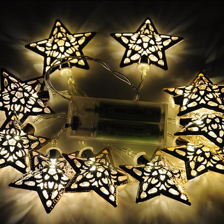 Гаджет  Battery Operated Warm White LED Fairy Lights  Metal Star String Decoration Light Christmas Halloween Christmas Party Wedding None Дом и Сад