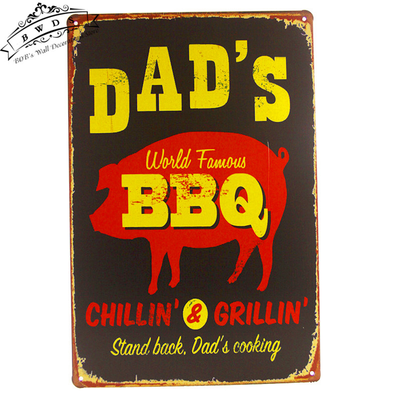 Dad's BBQ Metal Tin signs House Office Restaurant Metal Poster Pub Bar iron Paintings(China (Mainland))