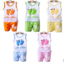 New style summer baby boys girls clothes cotton suit children set Leisure Candy colors Kids clothing infant clothing