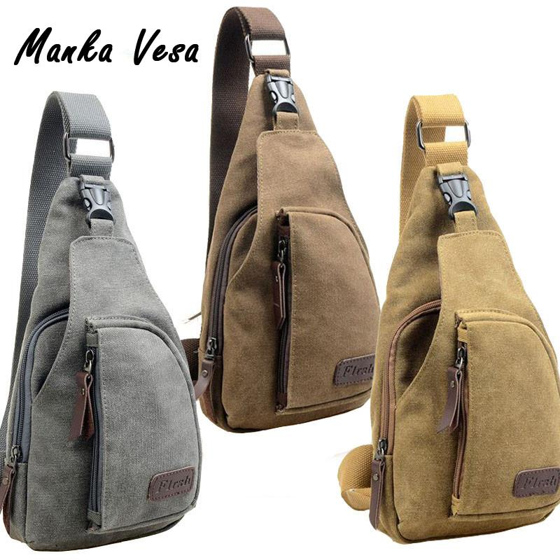 04c1575d0214 Fashion Vintage Men Messenger Bags Casual Outdoor Travel Hiking Sport Casual  Chest Canvas Male Small Retro Military Shoulder Bag