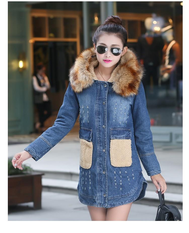 Women Hooded Denim Jackets Fashion Fur collar 2016 Casual Woman Jeans Coats Fake Lambswool Collar Winter Warm Long Jean Jacket