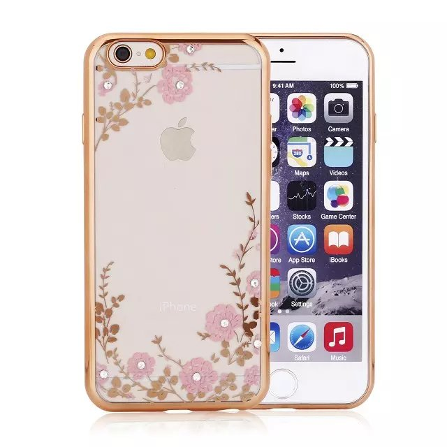 Luxury Secret Garden Flowers Rhinestone Cell Phone Case For iphone 6 6S Plus Women Plating Rose Gold TPU Cover(China (Mainland))