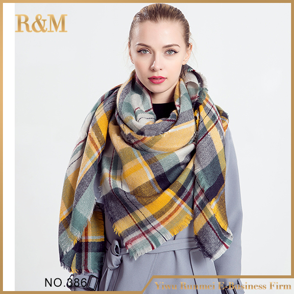 Best selling trendy style fashion font b tartan b font scarf from China