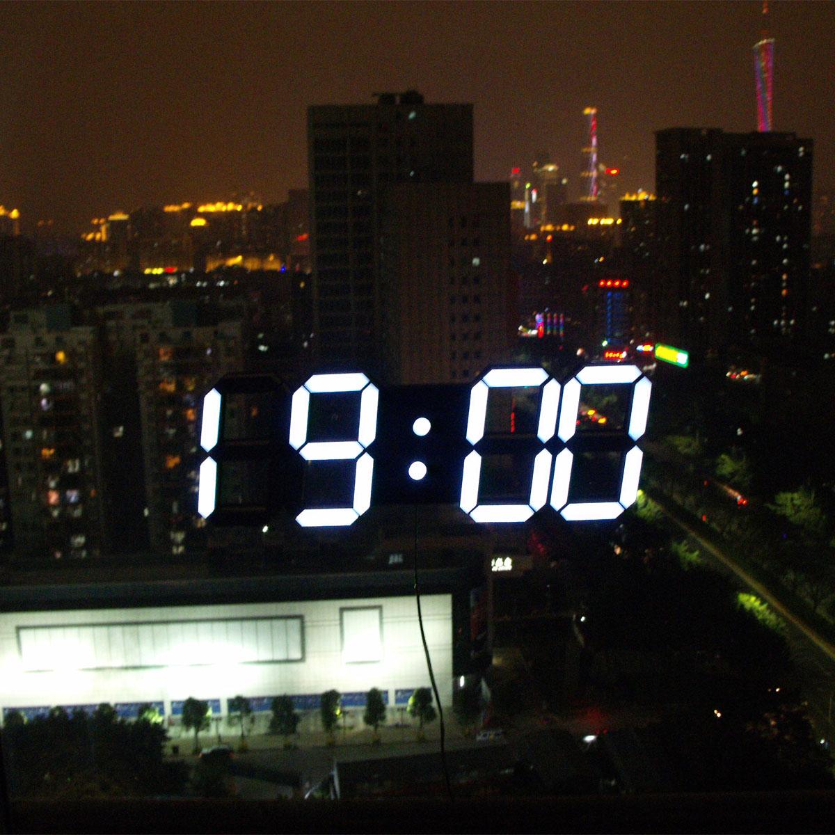 Creative Remote Control Large LED Digital Wall Clock Modern Design Home Decor 3d Decoration Big Decorative Watch White / Black(China (Mainland))