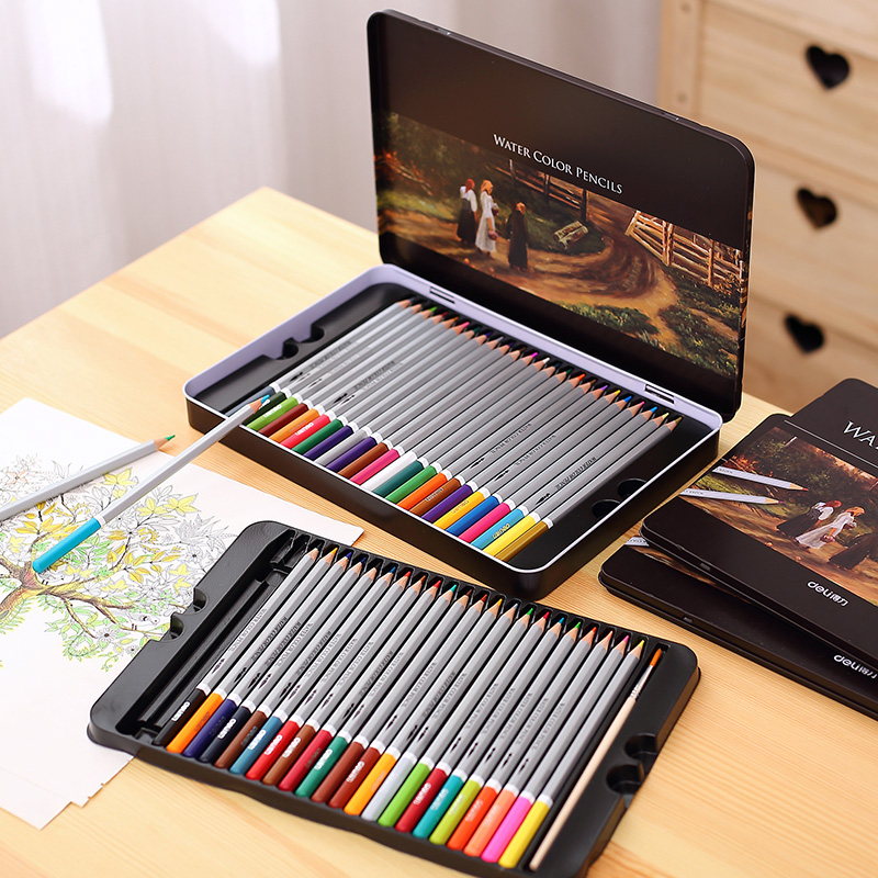 Set of 24/36/48/72 Water Colour Pencils Paper/Tin Case Colorful Drawing Pencils Great GIft Water Soluble Colour Pencils(China (Mainland))