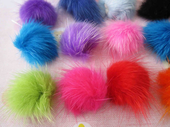 60pcs Bulk buy, mink hair Fur pom pom ball, craft, sewing, accesories, earplug, iphone, ipod supply medium size 30mm(China (Mainland))