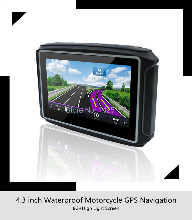 Free Shipping 4.3 inch motorcycle / Moto GPS Navigator Waterproof Rating IPX7+8GB internal memroy+Bluetooth+Free MAP For Moto(China (Mainland))