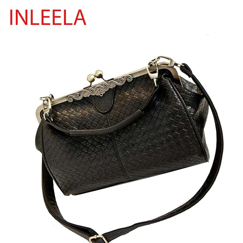 INLEELA Fashion Weave Women Bag Retro Women Shoulder Bag Simple Medium Cross Body Bag Women Messenger Bag(China (Mainland))