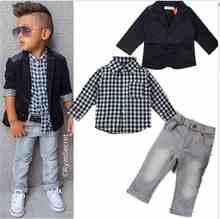 2015 Осень новое прибытие мальчиков одежда наборы дети Мальчики с длинными рукавами куртка + рубашки + брюки джинсовые 3 шт. ребенок случайный набор одежды(China (Mainland))