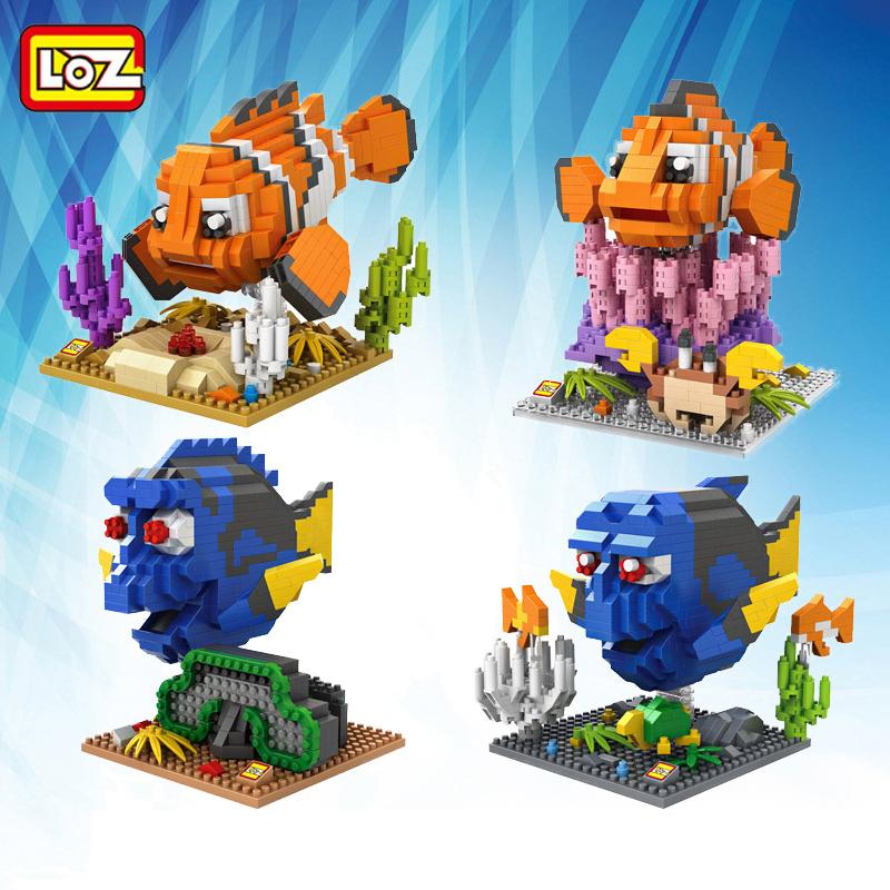 2016 New LOZ Finding Nemo Building Blocks DIY Nemo Marlin Dory Charlie Fish Mini Nano Bricks Toy Children Fun Model Block Toys(China (Mainland))