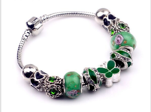 2015butterfly Fashion 925 Sterling Silver Field of Daisies Murano Crystal European Charm Beads Fits Pandora Style Bracelets(China (Mainland))