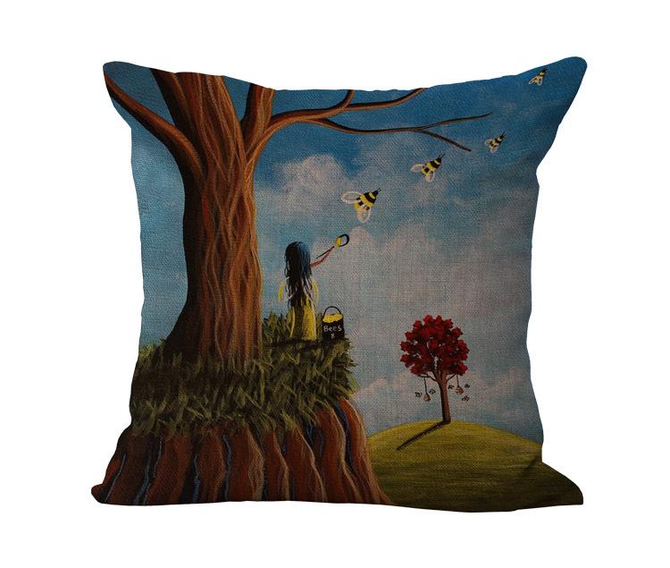 Бесплатная доставка Оптовая продажа 100% Новый хлопок белье мультфильм фэнтези лес Подушка подушки на диване для украшения дома