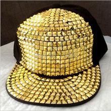 Personality Jazz Hat Snapback Cap Men/ Women Spike Studs Rivet Cap Hat Punk Style Rock Hiphop Pick(China (Mainland))