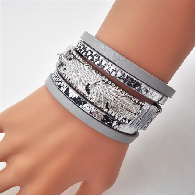 2016 мода серебряный лист подвески браслет женщины Старинные Многослойные Кристалл ...