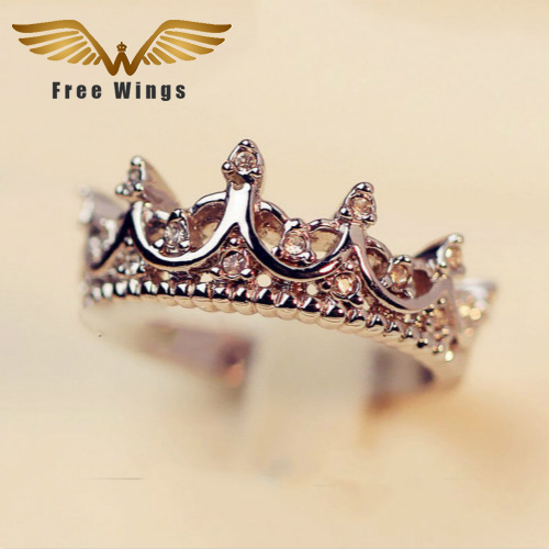 Queen's Silver Crown Rings For Women Punk Brand Fashion Crystal Jewellery Love Rings Femme Bijoux wedding engagement rings(China (Mainland))