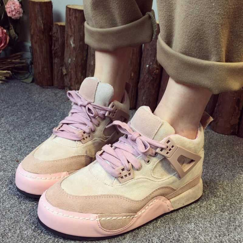 2016 fashion round toe lace up mixed color grey pink women girls shoes hot sale comfortable shopping easy matching casual shoes(China (Mainland))