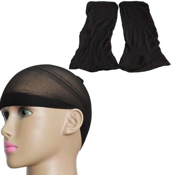 2 шт. черный мужская парик чулок лайнер Cap поводка нейлон стретч сетки для волос ...