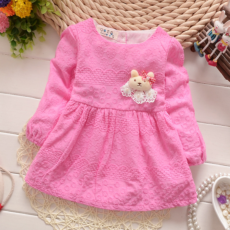 2016 New Girls Dress Flower Lace Dance Party Pageant Spring and Autumn Baby Kids Clothing Size 6M-24M<br><br>Aliexpress