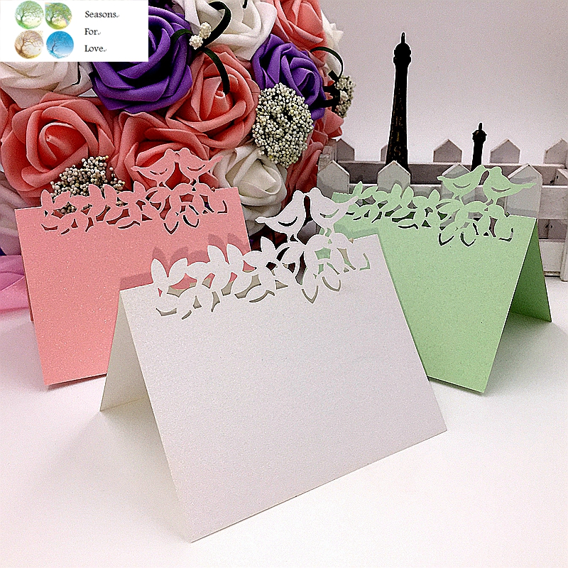 Free shipping 40pcs 2016 love birds animals cute party favors supplies wedding decoration Laser Cut Party