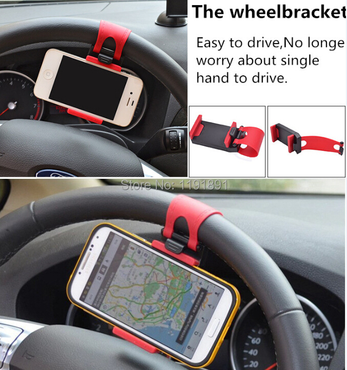 Car Accessories Universal Car Steering Wheel Mobile Phone Holder Bracket for iPhone 6 plus 4 5 5S Galaxy S4 S5 GPS HTC MP4(China (Mainland))
