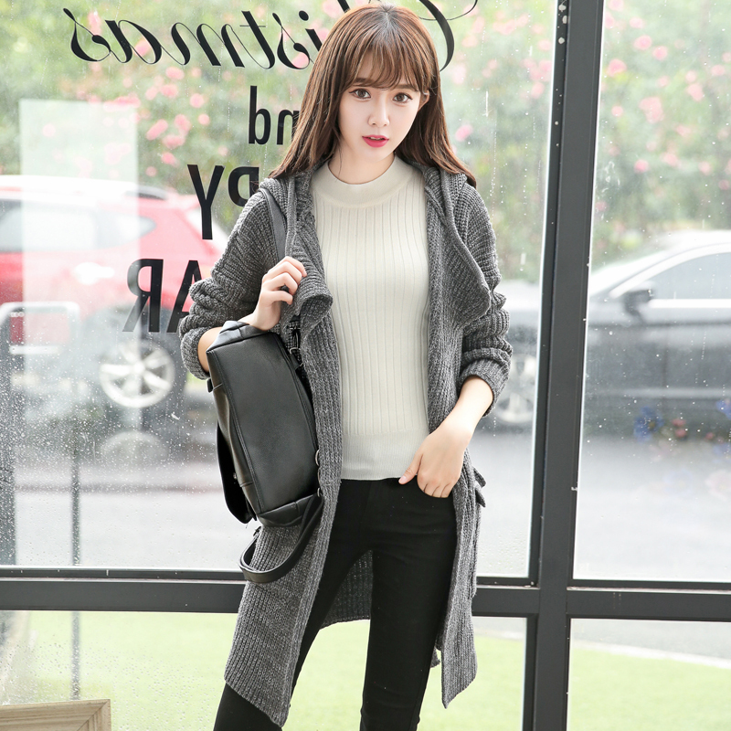 New 2015 Fall Fashion Women Cardigan Knitted Long SleeveHooded Sweater Cardigans Spring Casual Female Solid SweatersTrench Coat