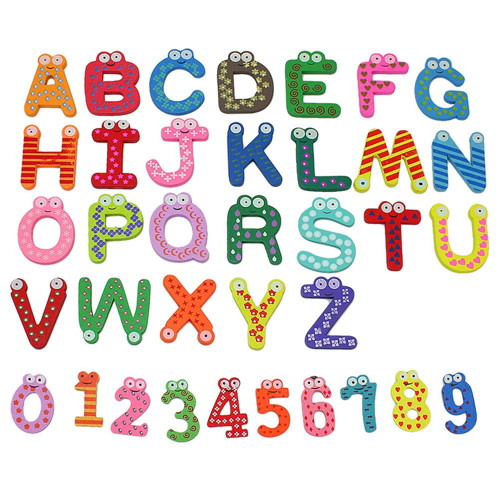 36x Colorful Cartoon Design Wooden Letters Numbers Refrigerator Fridge Magnets Teaching Alphabet Kids Toys(China (Mainland))