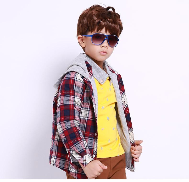 Скидки на Мальчиков куртки и пальто 2016 осень ребенок Лоскутное с капюшоном Плед кардиган верхняя одежда С Длинными рукавами решетки дети мальчик рубашка топы