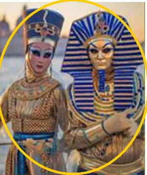 100%real venice carnival Egyptian men/ Egyption women gown with handmaking hat and mask egypt cosplay can customs make(China (Mainland))