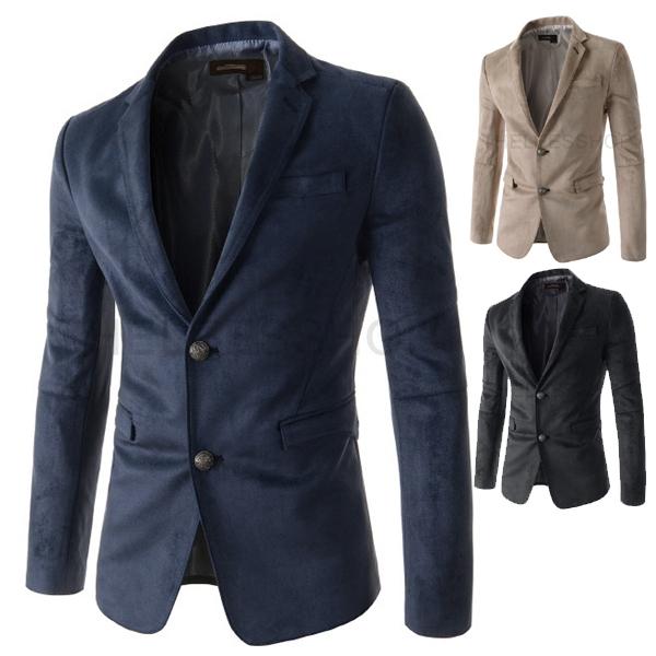 Single Button Leisure Blazers Men Male Fashion Slim Fit Casual Suit Blazer Dress Clothing Asian Size:M-XXL [B0336] - TO JO's store