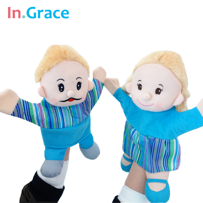 In.Grace fashion cute papamama glove puppets high quality blue cloth toy hand puppets for kids play games with baby freeshipping(China (Mainland))