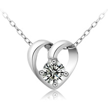 Top quality beautiful Sterling Silver Crystal Heart Necklace pendants with 18 inch 925 silver chain Fashion Jewelry XL038(China (Mainland))